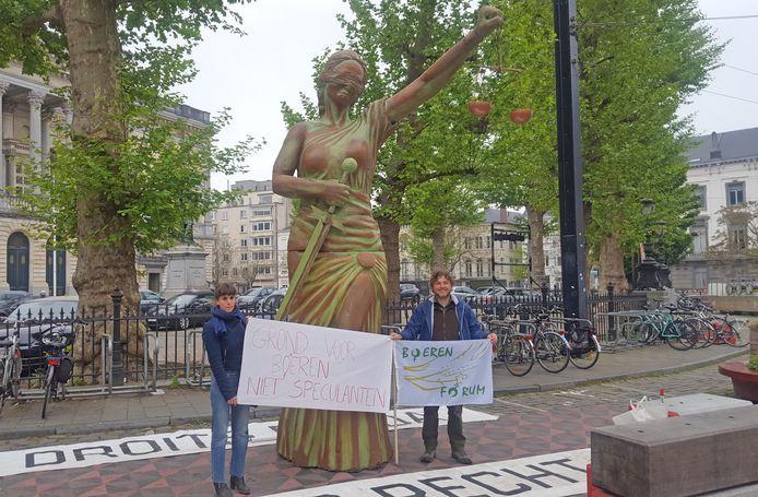 De protestactie aan het Koophandelplein.