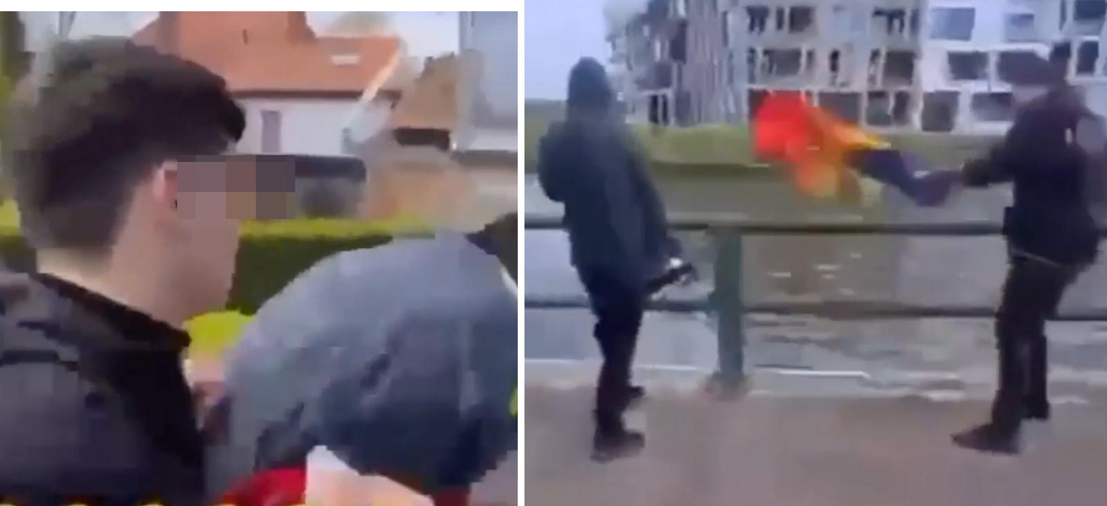 Nadat de daders de jongen hard hebben geslagen en geschopt, gooien ze een regenboogvlag in de Schelde.