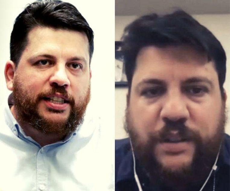 De echte Volkov (links) en de nepversie van de Zoom-call (rechts). Beeld Facebook