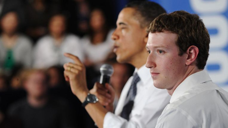 Barack Obama en Mark Zuckerberg. Beeld anp