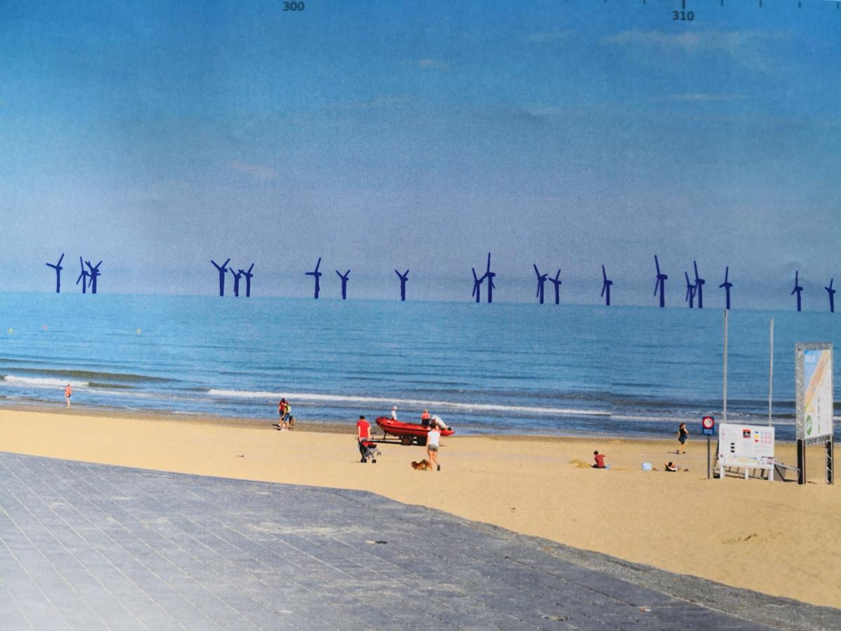 Een conceptbeeld van de windmolens in zee.