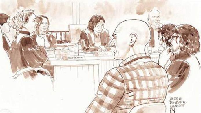 Rechtbanktekening van Jos de G. voor de rechtbank in Den Bosch tijdens een eerdere behandeling van de zaak.
