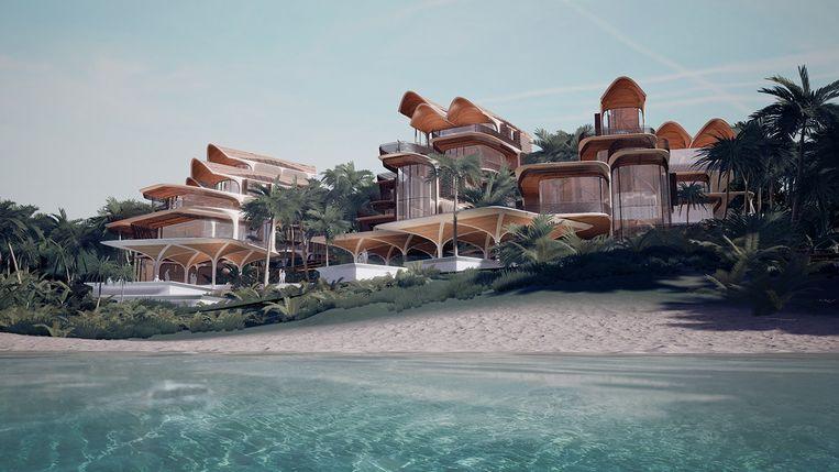Een impressie van 'Roatán Próspera', 'Welvarend Roatán', een modelstad die wordt gebouwd op het eiland Roatán. Beeld Zaha Hadid Architects