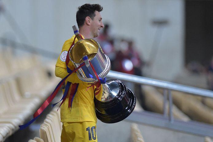 Lionel Messi met de Copa del Rey.