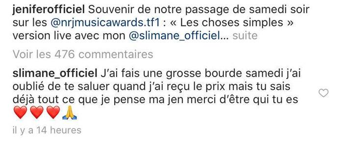 Slimane s'est excusé dans les commentaires sous la publication de Jenifer.