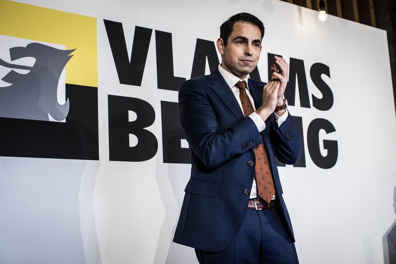 Vlaams Belang-voorzitter Tom Van Grieken. Beeld Bas Bogaerts