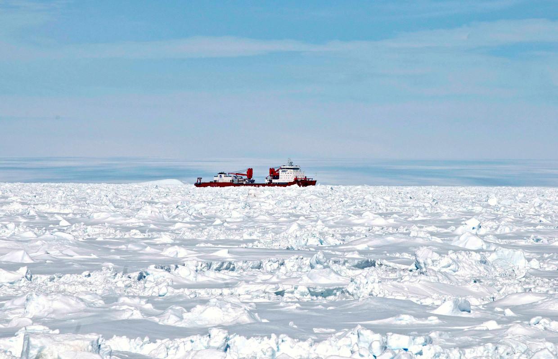 De Chinese ijsbreker Xue Long vaart door drijvende ijsformaties in het zuidpoolgebied. Beeld REUTERS