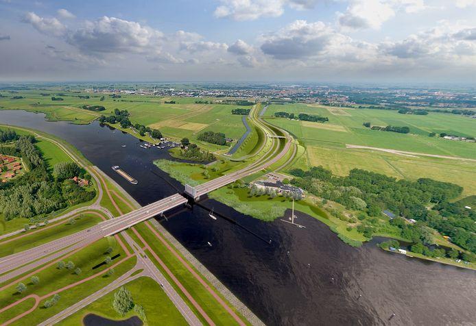 Impressie van de nieuwe brug bij Roggebot.