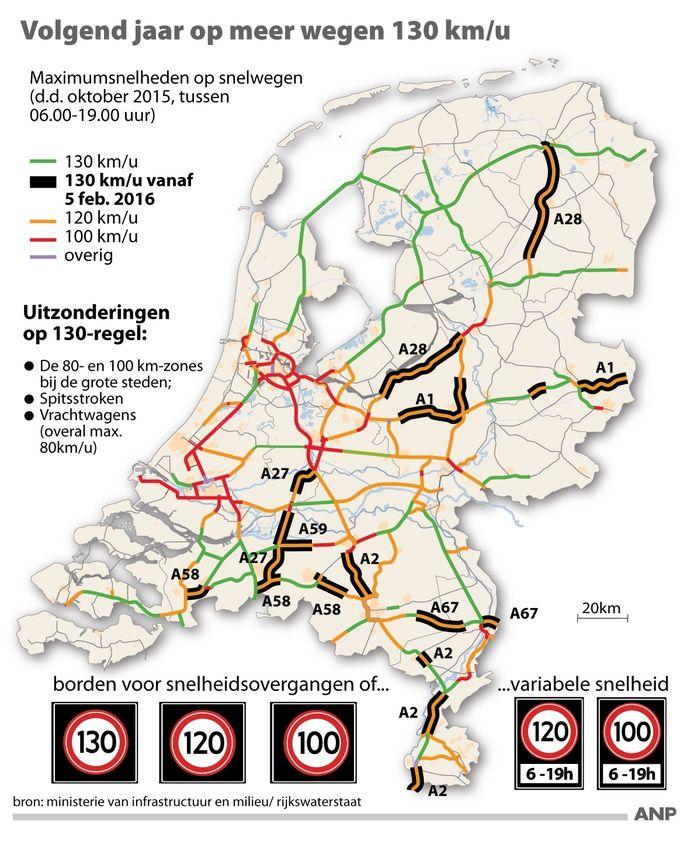 Volgend jaar op meer wegen 130 km/u: overzicht trajecten waar maximumsnelheid op Nederlandse snelwegen wordt verhoogd.