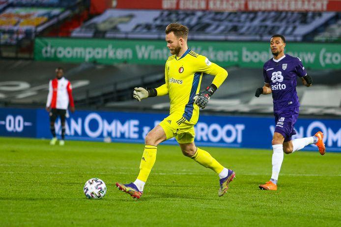 Feyenoord-keeper Nick Marsman, hier in actie tegen Heracles. Komt de keeper terug naar FC Twente?