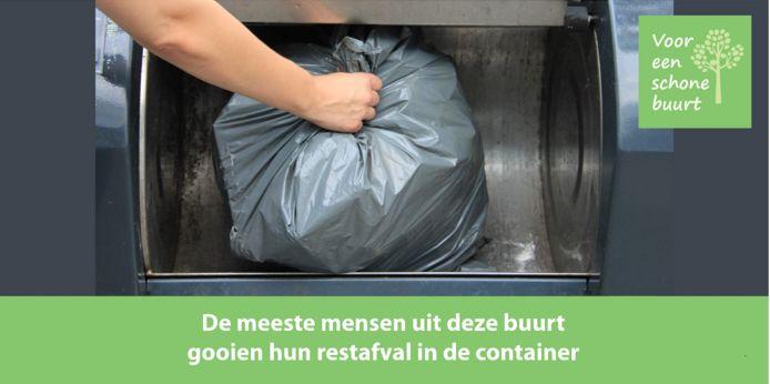 Een korte, simpele tekst bij een afvalcontainer, die een onbewust 'oergevoel' van mensen aanspreekt.