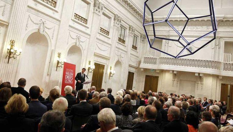 Premier Mark Rutte tijdens zijn lezing Beeld anp