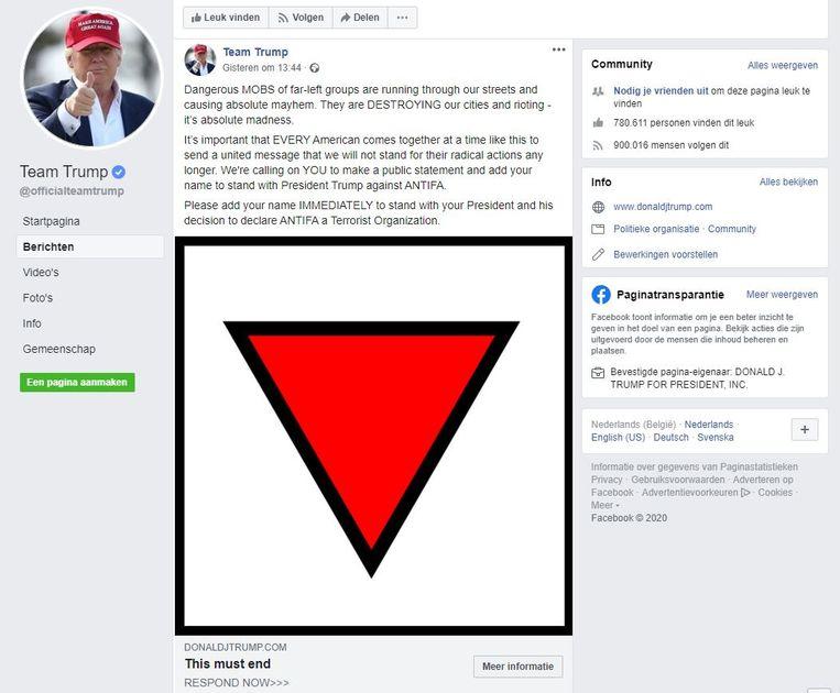 De Facebookpost in kwestie. Beeld rv