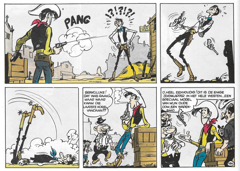 De scène waarin Phil IJzerdraad sterft werd geweerd wegens te gewelddadig. Niet veel later zou Lucky Luke nooit meer mensen neerschieten. Beeld RV
