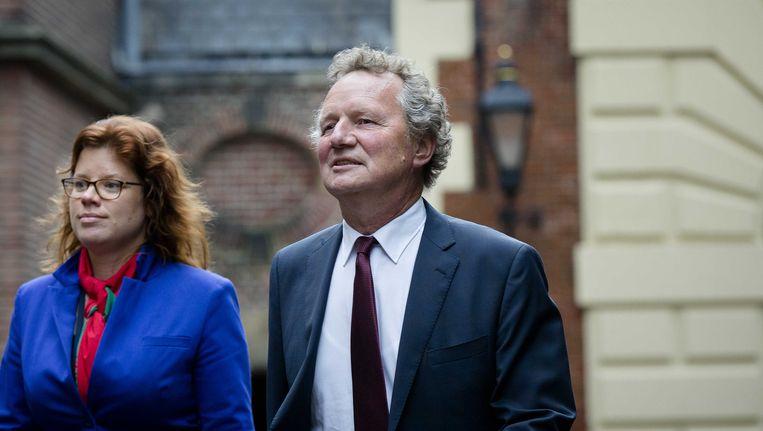 GroenLinks-fractievoorzitter Bram van Ojik met Linda Voortman op het Binnenhof Beeld ANP