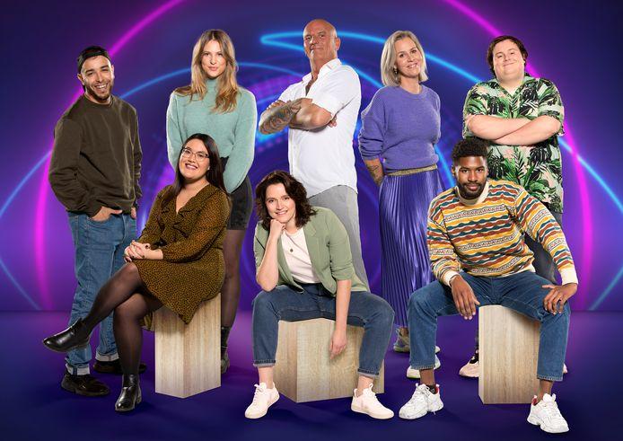De bewoners van het Big Brother-huis. Boven l/r: Ziko, Liese, Theo, Daniëlle en Thomas. Onder l/r: Nathalie, Naomi, Jowi.