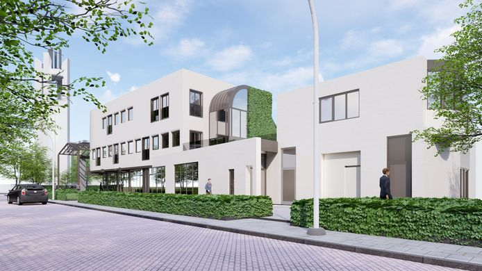 Het gebouw gezien vanuit de Loopstraat. Op het kleinste appartement na krijgen alle woningen ook flink wat buitenruimte.