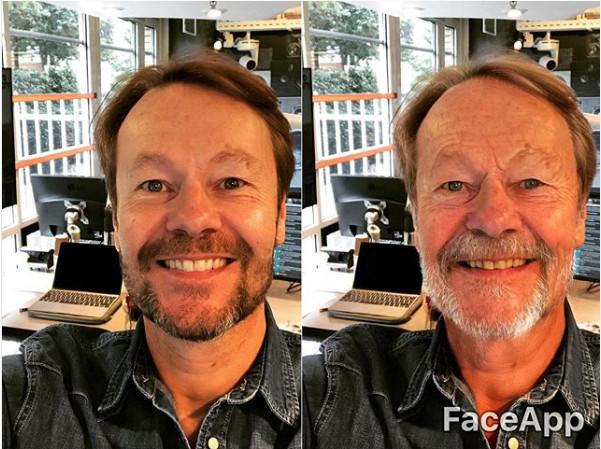 Gijs Staverman zal er over dertig jaar ongeveer zo uitzien volgens de FaceApp.