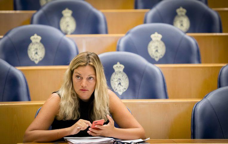 Sandra Beckerman (SP) tijdens het debat in de Tweede Kamer over het voornemen van de Amerikaanse president Donald Trump om het klimaatakkoord op te zeggen. Beeld ANP