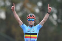 Belgian Eli Iserbyt celebrates as he crosses the finish line to win the men elite race at the European Championships cyclocross cycling in 's-Hertogenbosch, The Netherlands, Sunday 08 November 2020. BELGA PHOTO DAVID STOCKMAN