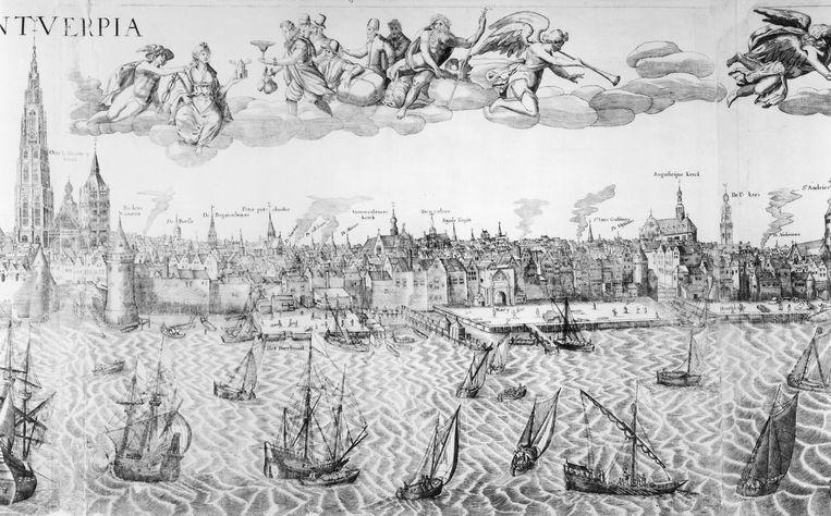 Plattegrond van Antwerpen anno 1549 (gravure), Hollandse school, 16de eeuw. Beeld Bridgeman Images
