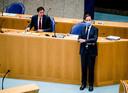 Demissionair premier Mark Rutte en demissionair Minister Wopke Hoekstra van Financiën (CDA) tijdens het Verantwoordingsdebat in de Tweede Kamer over het jaar 2020.