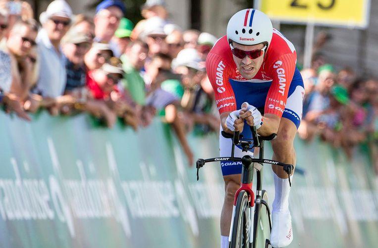 Tom Dumoulin tijdens de proloog in de Ronde van Zwitserland. Beeld anp
