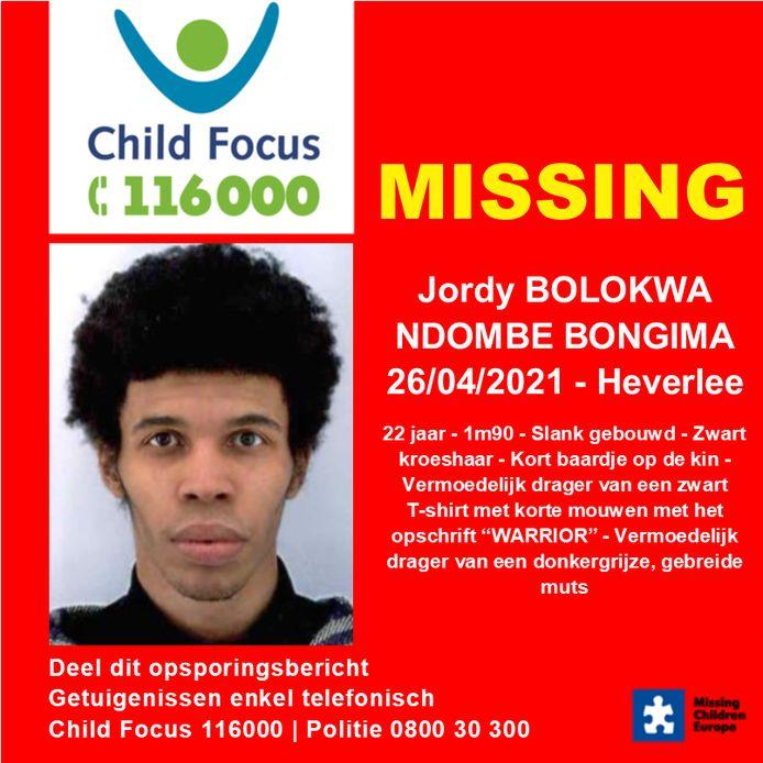 De 22-jarige Jordy Bolokwa Ndombe Bongima is vermist sinds maandag 26 april en werd het laatst gezien in Heverlee.