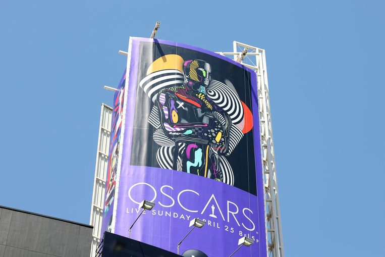 Een billboard kondigt de Oscars aan in Los Angeles. Beeld Getty Images