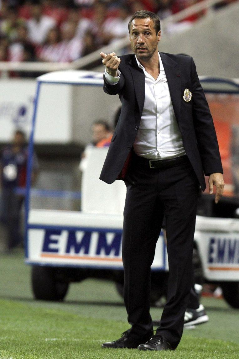 Trainer Van 't Schip 11 november bij de wedstrijd tegen de latere kampioen Tijuana. Beeld afp
