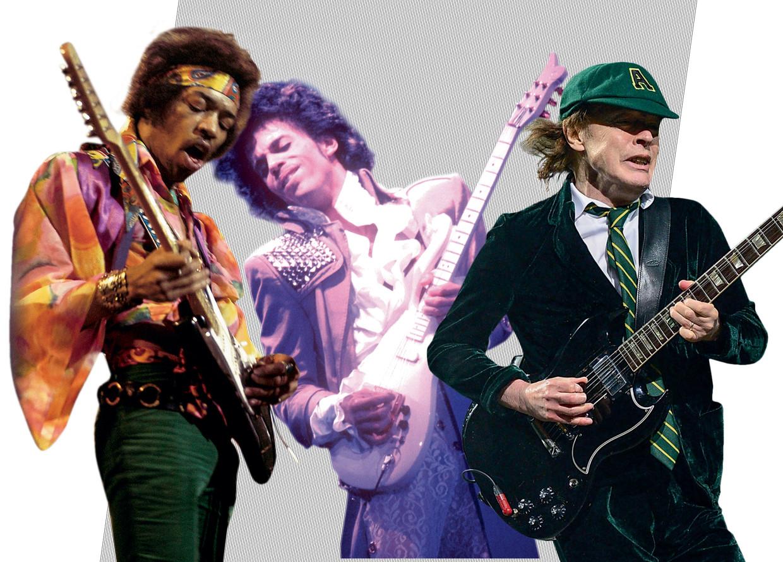 Jimi Hendrix, Prince en Angus Young Beeld Humo