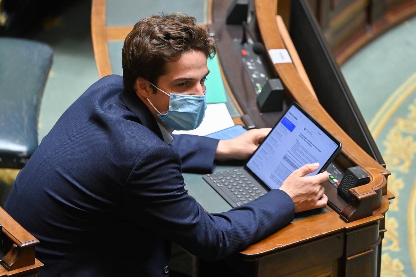Le secrétaire d'État à la Relance, Thomas Dermine, à la Chambre, en juin