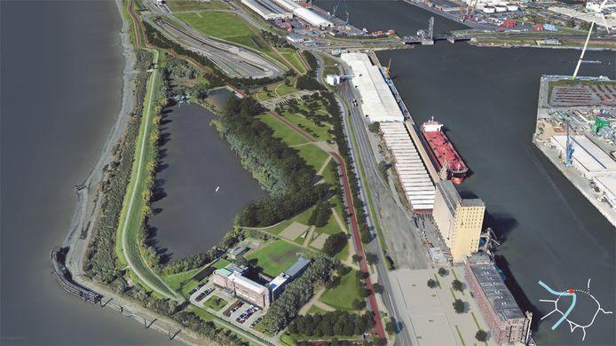 De toekomstige situatie aan het Noordkasteel: helemaal bovenaan zie je de half verzonken Oosterweelknoop, links onderaan de Zeevaartschool en rechts onder de SAMGA-site.