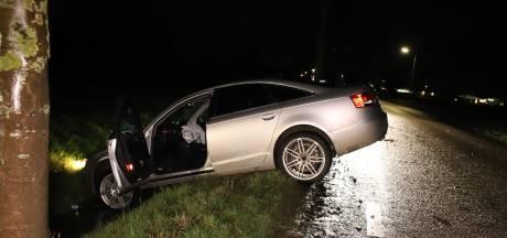 Dronken automobilist 'parkeert' auto in de sloot langs de weg in Lienden