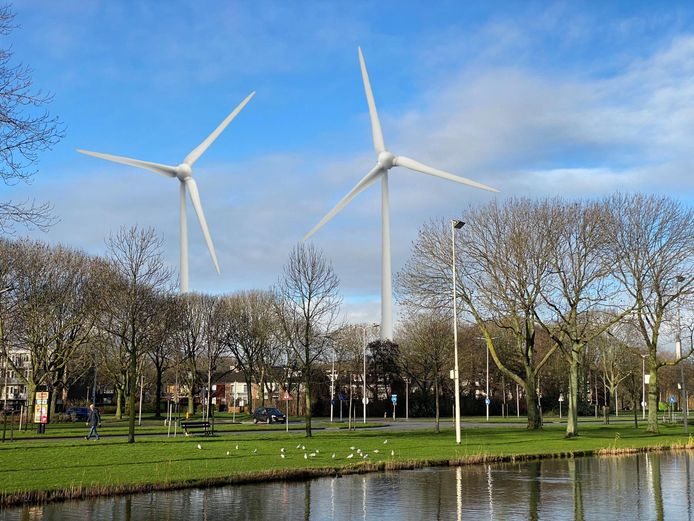 Zo ziet Spijkenisse-Noord  straks de windmolens, volgens een schets van de partij Nissewaard Lokaal.