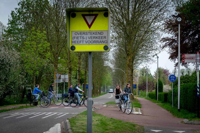 De fietsoversteek van het RijnWaalpad op de Ressensestraat.