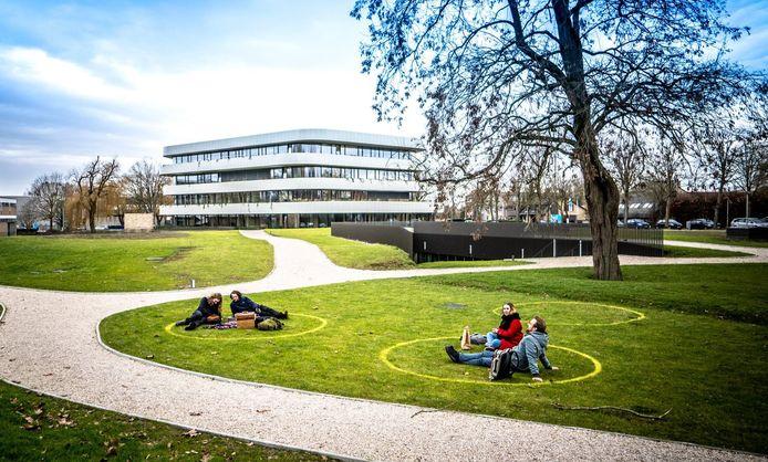 De cirkels in het park bij Howest-campus The Penta in de Graaf Karel de Goedelaan.
