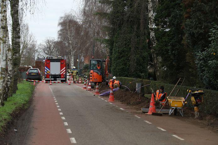 Gaslek aan de Bredeweg in Geffen.