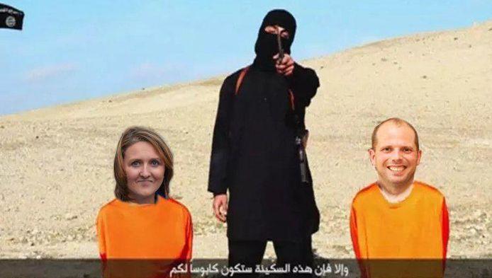 Een gefotoshopt beeld van IS-beul Jihadi John, die klaarstaat om Open Vld-voorzitster Gwendolyn Rutten en staatssecretaris Theo Francken te onthoofden, is bij de N-VA-minister in het verkeerde keelgat geschoten.
