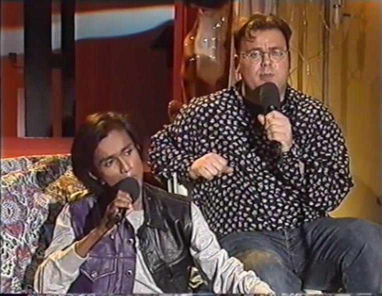 René Klijn met Paul de Leeuw in De Schreeuw van de Leeuw, op 28 november 1992. Beeld BNNVara