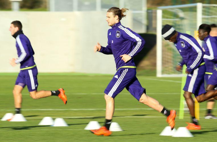 Guillaume Gillet tijdens een training naar aanleiding van de Europese match tegen Qarabag. Beeld BELGA
