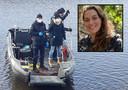 De politie zoekt in het water naar de verdwenen Ichelle. Kader: Ichelle van de Velde.