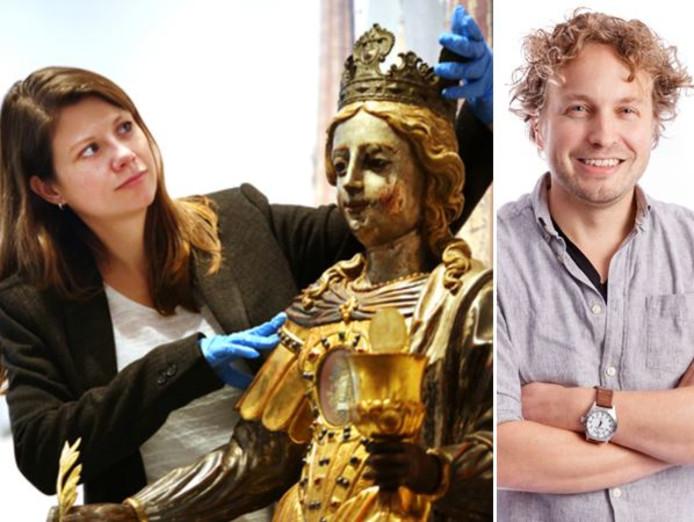 Conservator Monique Rakhorst en de heilige Barbara in het Stedelijk Museum Breda; volgens columnist Niels Herijgens een van de vele, vele culturele plekken in Brabant.