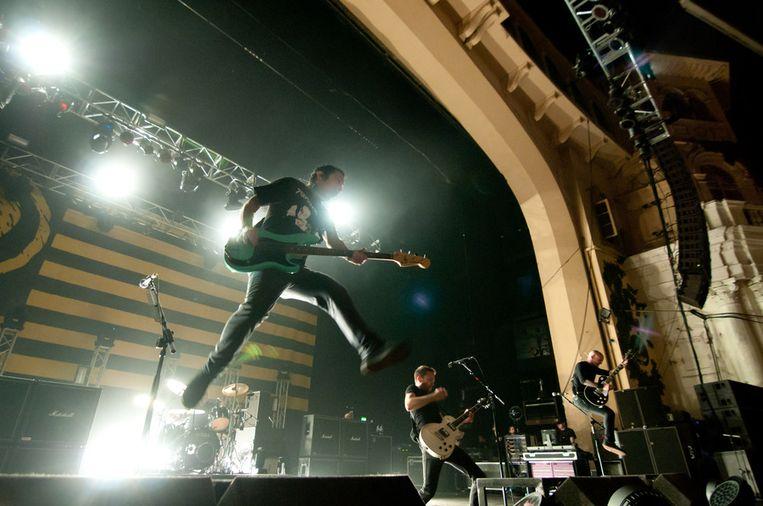 Rise Against, een van de toppers op zaterdag. Beeld Getty