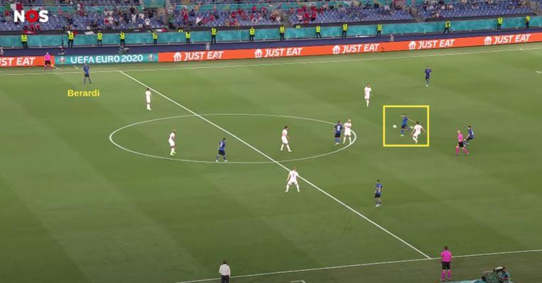 De aanloop naar de 1-0 van Italië tegen Zwitserland. Beeld Screenshot NOS