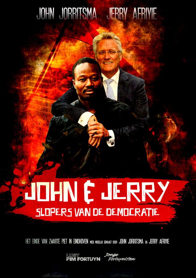 De LPF Eindhoven maakte een fotomontage met burgemeester John Jorritsma en Jerry Afryie, voorman van Kick Out Zwarte Piet