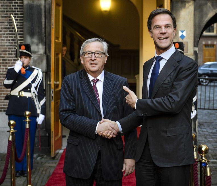 Juncker en Rutte. Beeld anp
