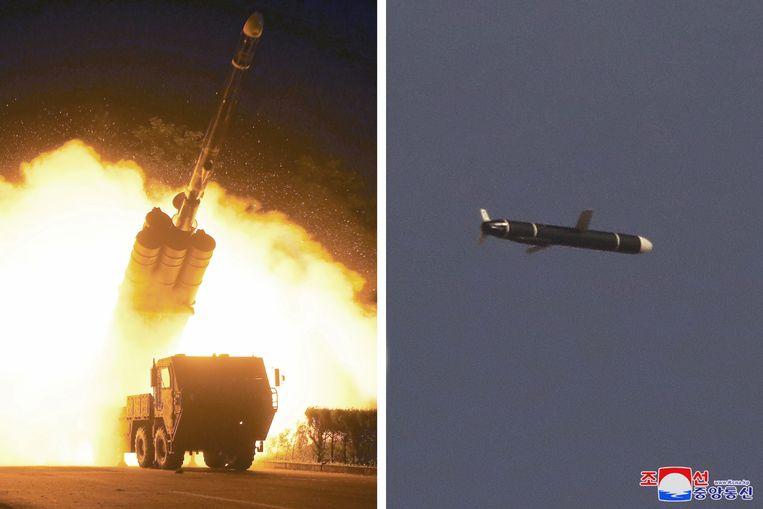 Lancering en vlucht van het nieuwe kruisvluchtwapen, op Noord-Koreaanse beelden.  Beeld Reuters