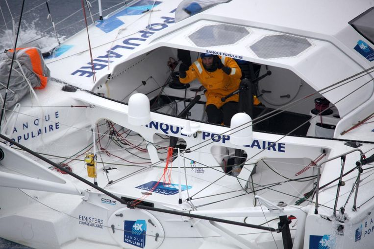 Armel le Cleac'h in actie tijdens de Vendée Globe, 1 december 2016. Beeld afp