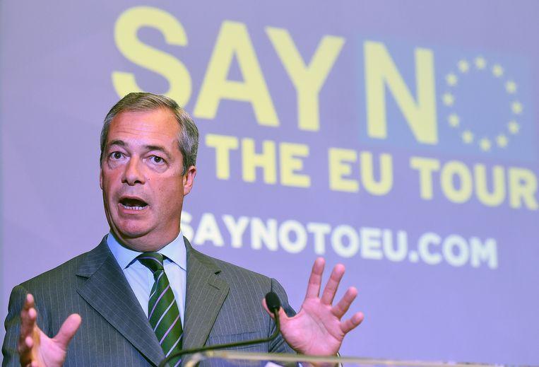 Nigel Farage, Europarlementariër voor de eurosceptische UK Independence Party, houdt een toespraak tijdens de 'EU NO'-campagne in Londen  in september 2015. Beeld EPA